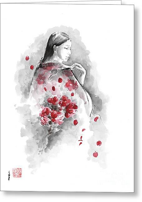 Geisha - Cherry Blossom. Greeting Card by Mariusz Szmerdt