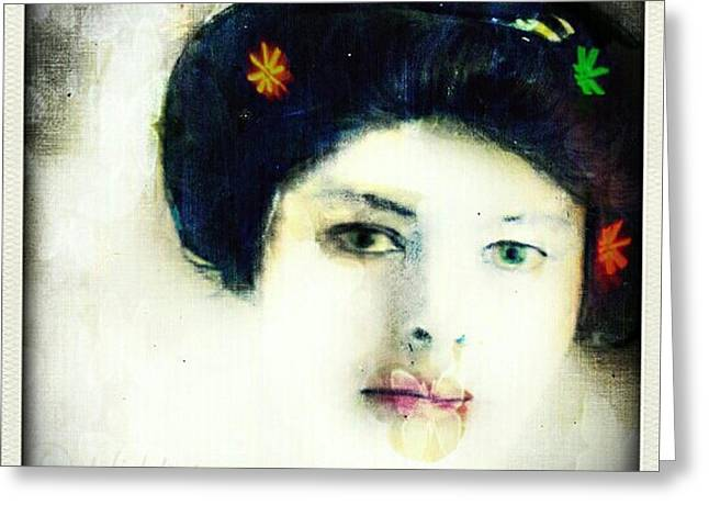 Greeting Card featuring the digital art Geisha by Delight Worthyn
