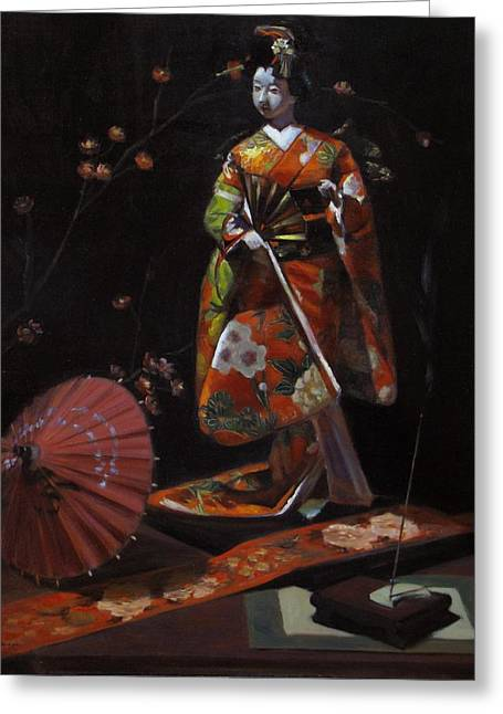 Geisha Doll In Red Greeting Card by Takayuki Harada