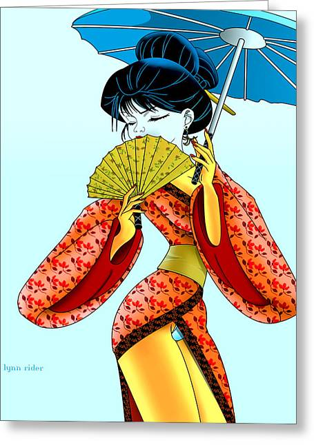 Geisha Girl Greeting Card by Lynn Rider