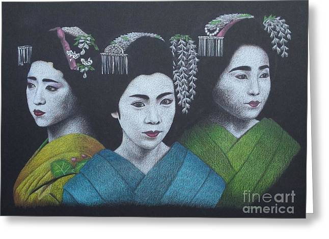 Geisha Girls Greeting Card