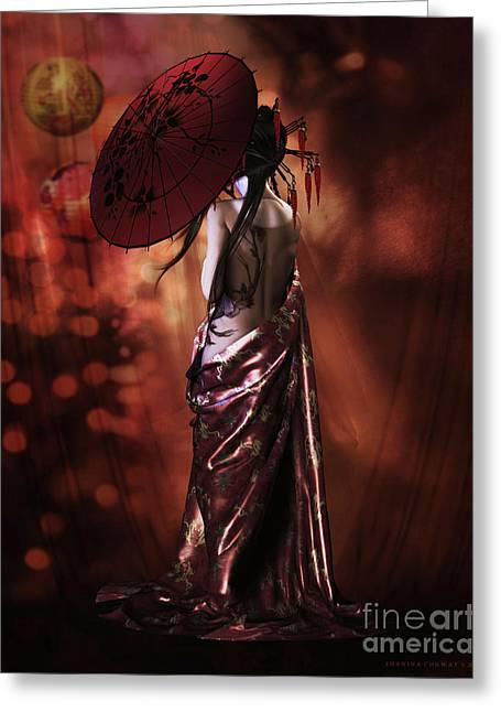 Geisha Gold Greeting Card