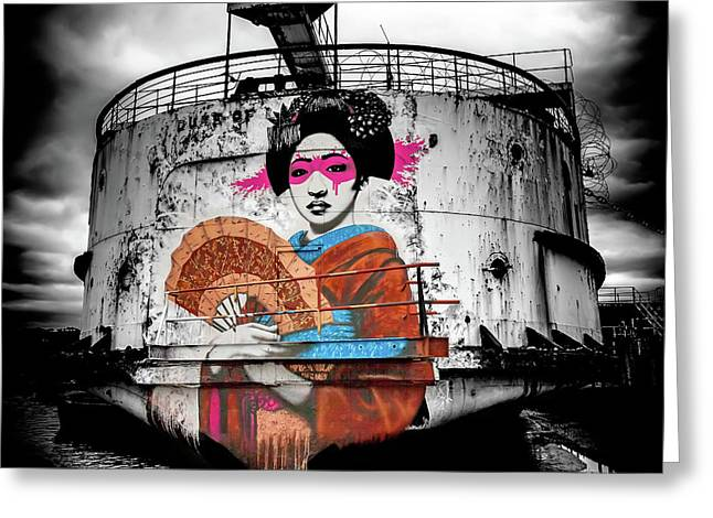 Geisha Graffiti Greeting Card by Adrian Evans