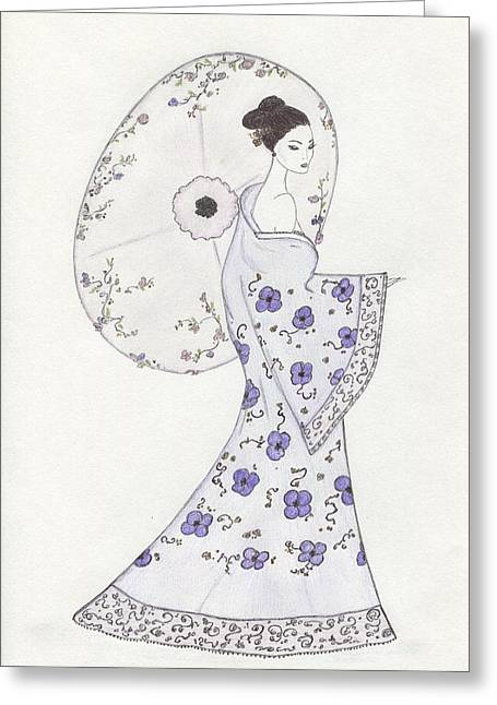 Geisha In Bloom Greeting Card by Christine Corretti