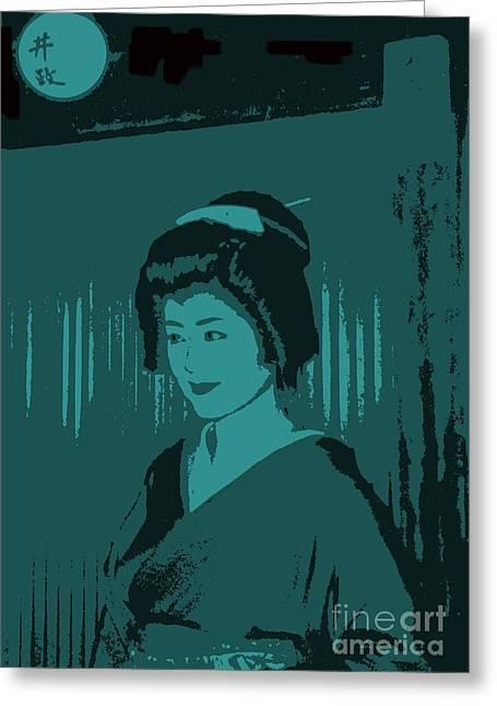 Geisha In Blue Greeting Card by Louise Fahy
