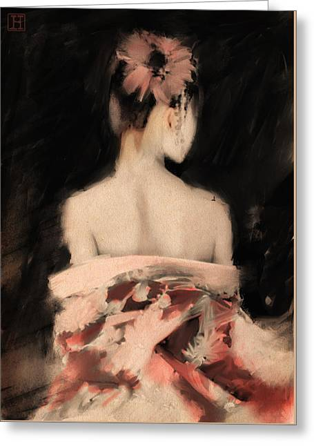 Geisha In Pink Greeting Card by H James Hoff