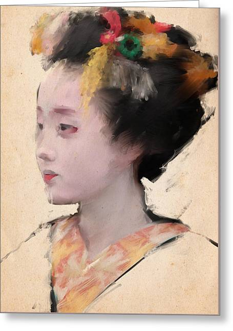 Geisha In Yellow Greeting Card by H James Hoff