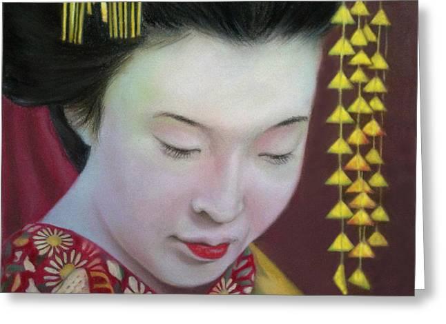 Geisha Greeting Card by Mamie Greenfield