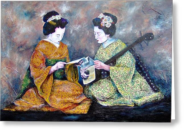 Geisha Music Lesson Greeting Card