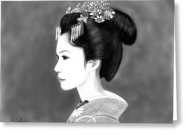 Geisha No.138 Greeting Card by Yoshiyuki Uchida
