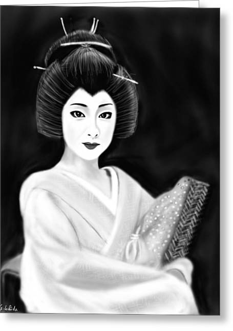 Geisha No.154 Revised Greeting Card by Yoshiyuki Uchida