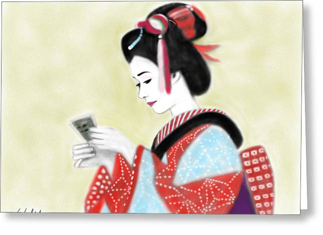 Geisha No.218 Greeting Card by Yoshiyuki Uchida