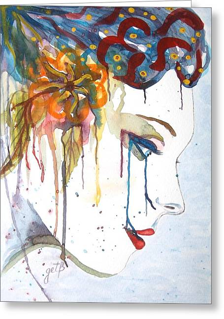 Geisha Soul Watercolor Painting Greeting Card