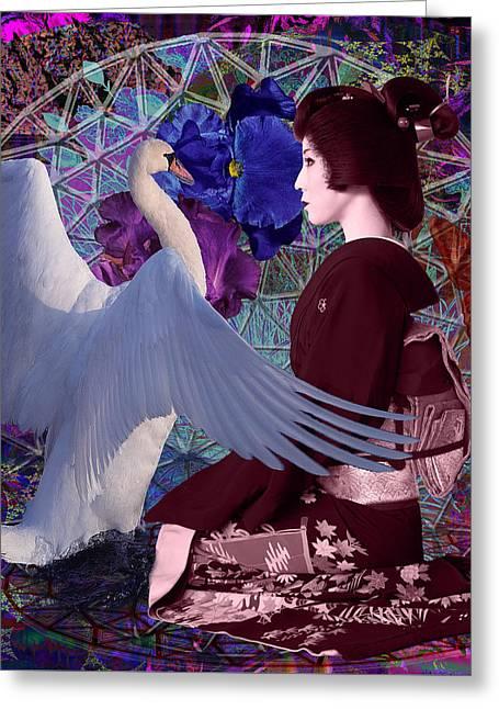 Geisha Swan Dance Greeting Card