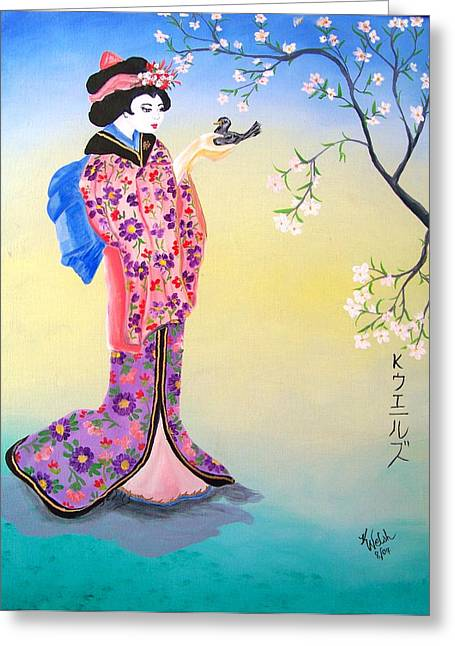 Geisha With Bird Greeting Card by Kathern Welsh