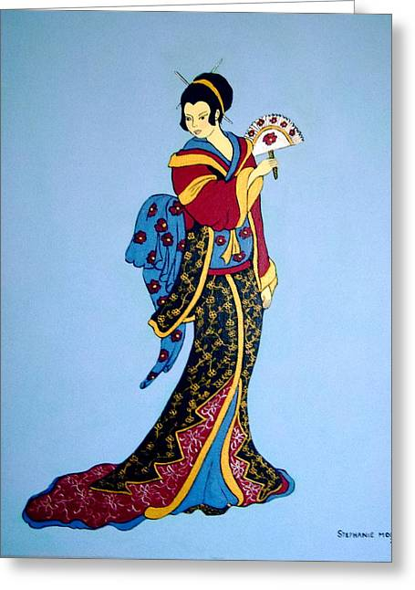 Greeting Card featuring the painting Geisha With Fan by Stephanie Moore