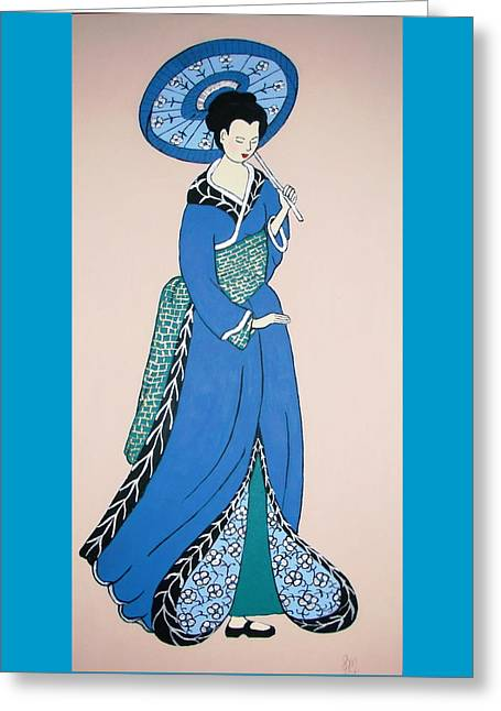 Greeting Card featuring the painting Geisha With Parasol by Stephanie Moore