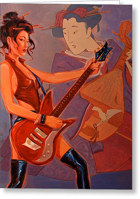 Geishas Gone Bad- Rock On Greeting Card by Shawn Shea