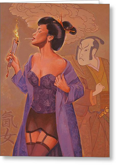 Geishas Gone Bad- Torch Song Greeting Card by Shawn Shea