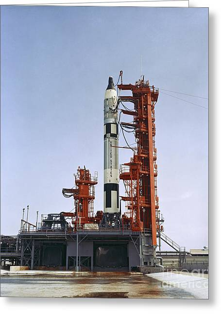 Gemini 5 Spacecraft On Its Launch Pad Greeting Card by Stocktrek Images