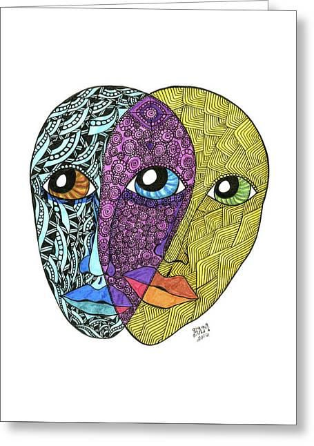 Greeting Card featuring the drawing Gemini by Barbara McConoughey