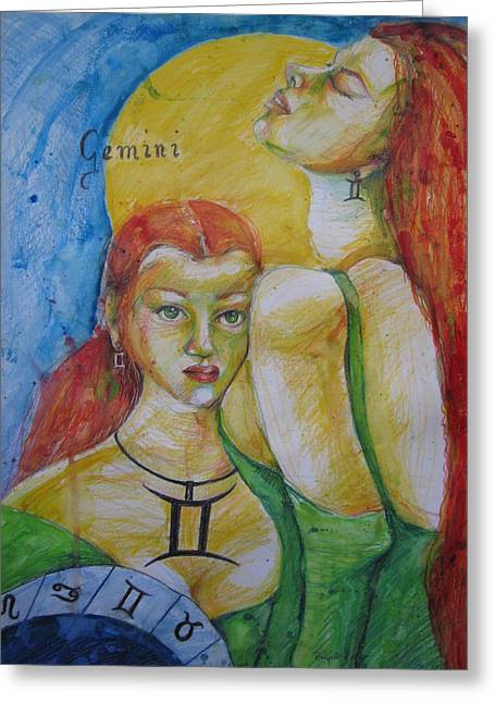 Calendar Drawings Greeting Cards - Gemini Greeting Card by Brigitte Hintner