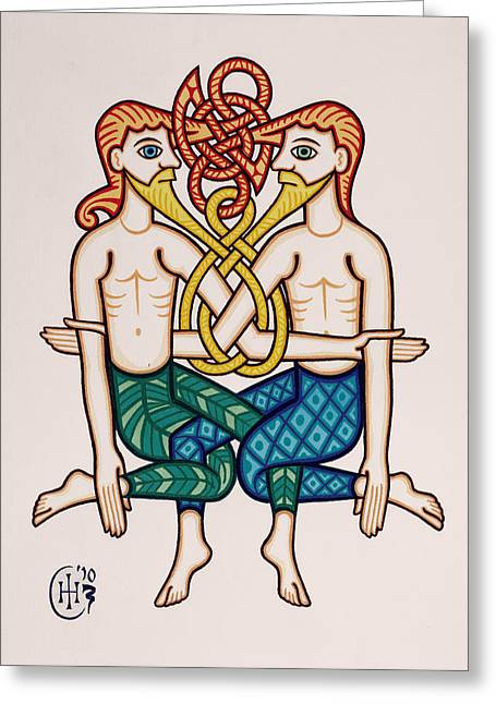 Celtic Knotwork Greeting Cards - Gemini Greeting Card by Ian Herriott