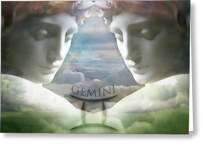 Gemini Twins Greeting Card by Kathleen Holley