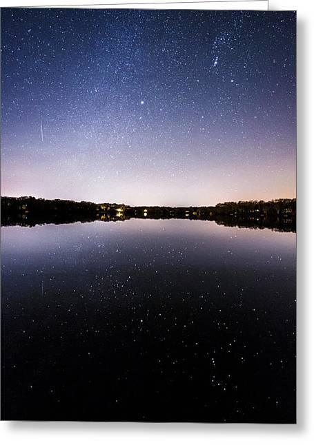 Geminid Meteor Reflection Greeting Card
