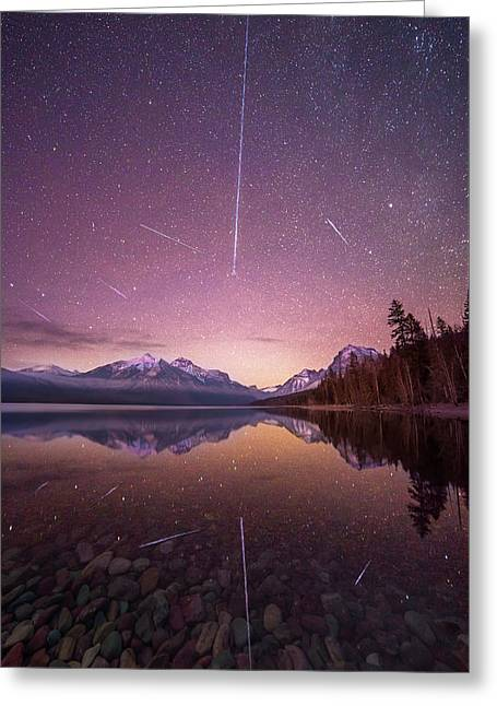 Geminid Meteor Storm // December 13th, 2017 // Lake Mcdonald, Glacier National Park Greeting Card