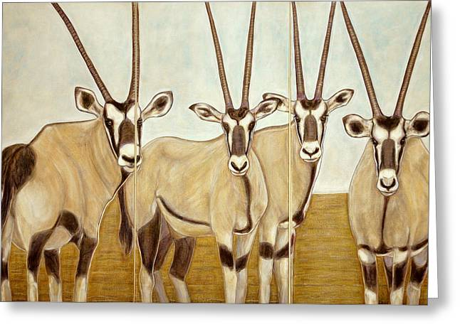 Gemsboks Or 0ryxs Triptych Greeting Card by Isabelle Ehly