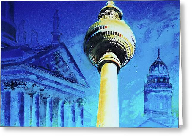 Gendarmenmarkt And Televisiontower Greeting Card