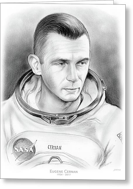 Astronaut Gene Cernan Greeting Card by Greg Joens