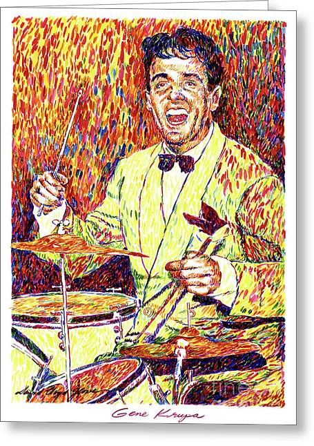 Gene Krupa The Drummer Greeting Card by David Lloyd Glover