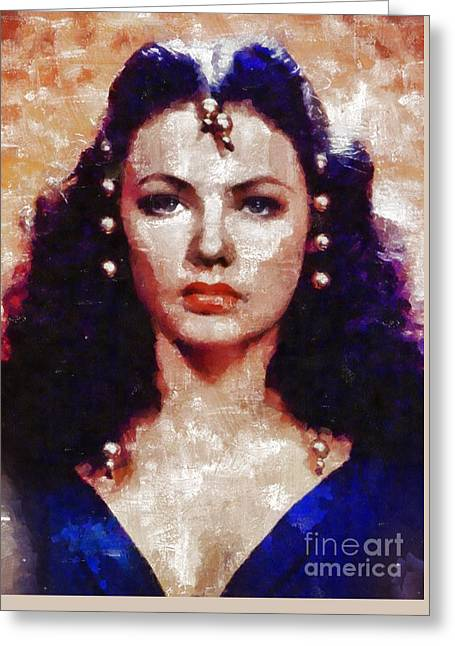 Gene Tierney, Vintage Actress By Mary Bassett Greeting Card by Mary Bassett