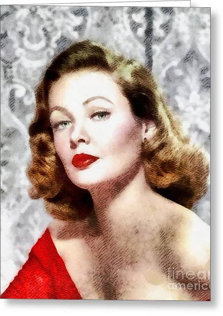 Gene Tierney, Vintage Actress Greeting Card by John Springfield