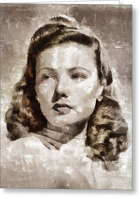 Gene Tierney, Vintage Actress Greeting Card by Mary Bassett
