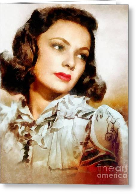 Gene Tierney, Vintage Hollywood Actress Greeting Card by Frank Falcon