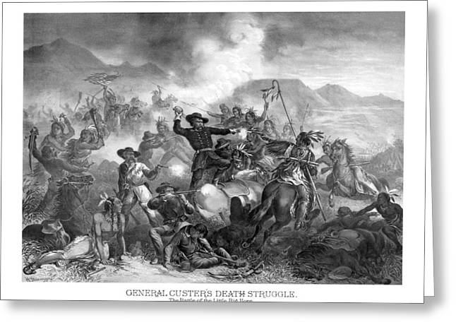 General Custer's Death Struggle  Greeting Card