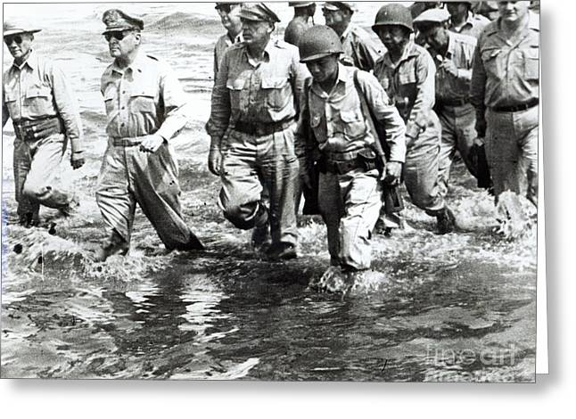 General Douglas Macarthur Wades Ashore At Leyte On His Return To The Philippines Greeting Card by American School
