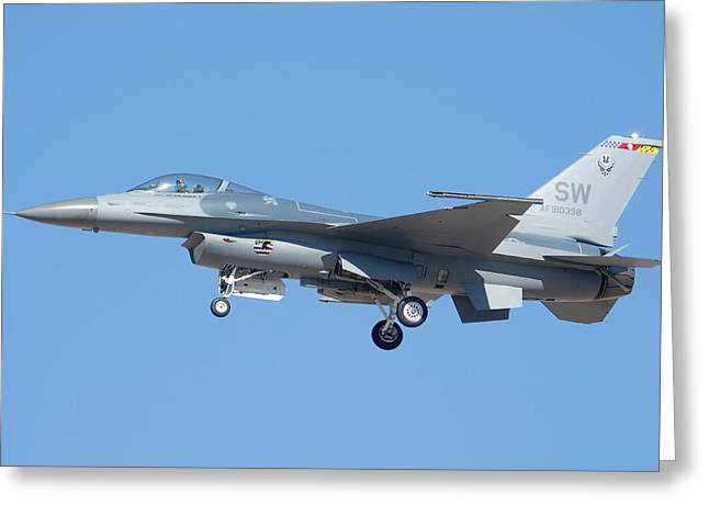 General Davis Greeting Cards - General Dynamics F-16C Fighting Falcon 91-0398 Davis-Monthan AFB Arizona March 4 2011 Greeting Card by Brian Lockett