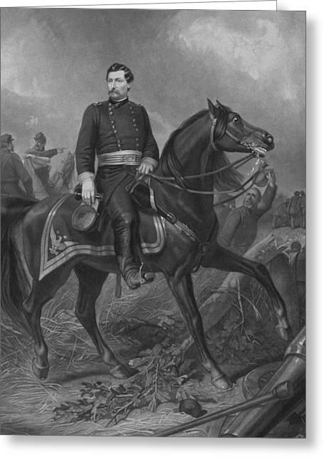 Civil Greeting Cards - General George McClellan On Horseback Greeting Card by War Is Hell Store