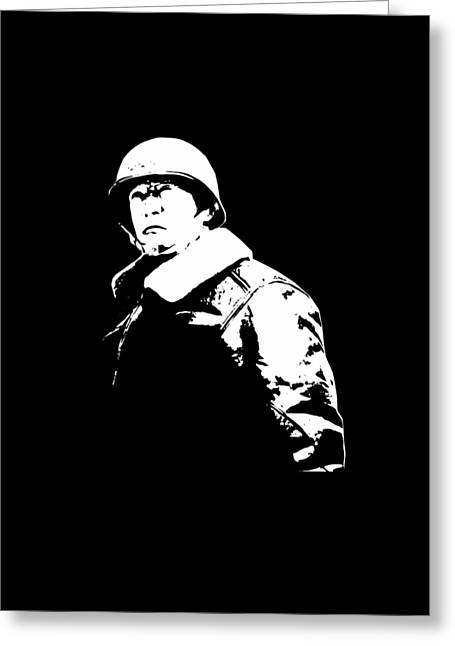 General George Patton - Black And White Greeting Card by War Is Hell Store