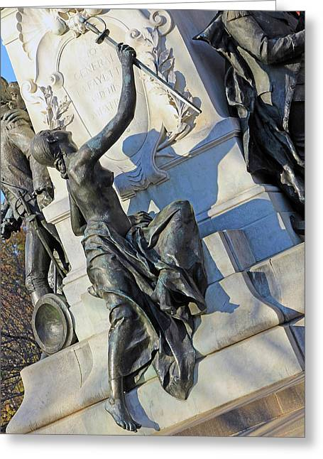 General Lafayette Memorial -- The Lady Looking Up At Lafayette Greeting Card by Cora Wandel