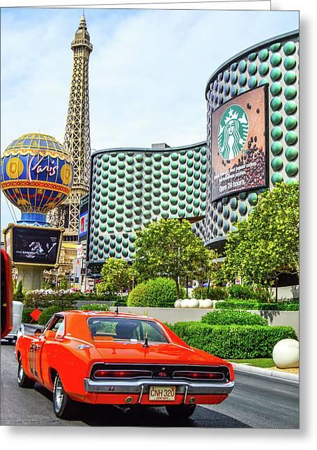 General Lee On The Vegas Strip Greeting Card