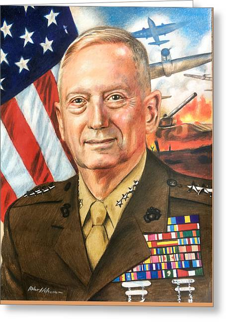 General Mattis Portrait Greeting Card by Robert Korhonen