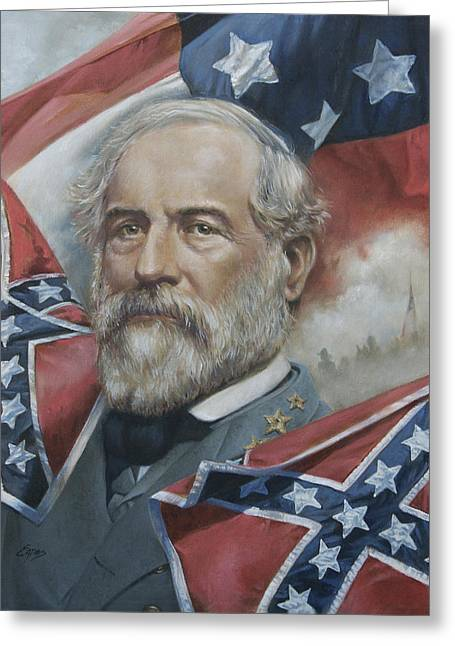 Confederate Flag Greeting Cards - General Robert E Lee Greeting Card by Linda Eades Blackburn