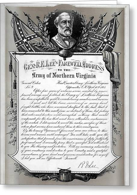 General Robert E. Lee's Farewell Address To Confederate Soldiers Greeting Card by Daniel Hagerman