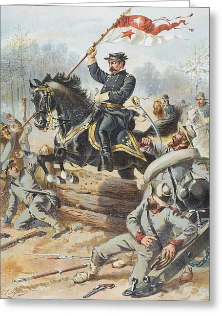 General Sheridan At The Battle Of Five Greeting Card by Vintage Design Pics