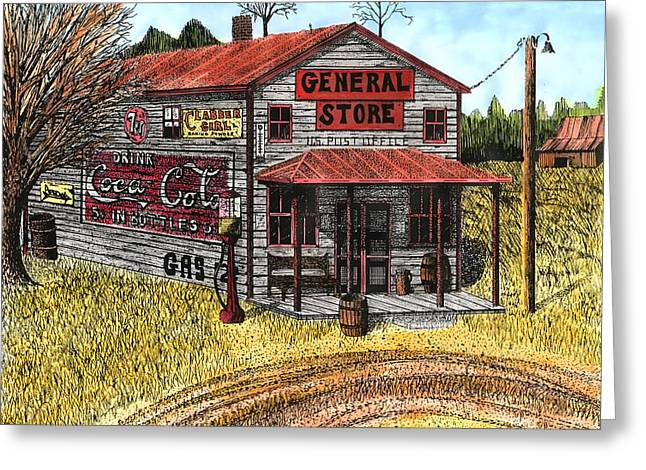 Barn Pen And Ink Greeting Cards - General Store Greeting Card by Mike OBrien